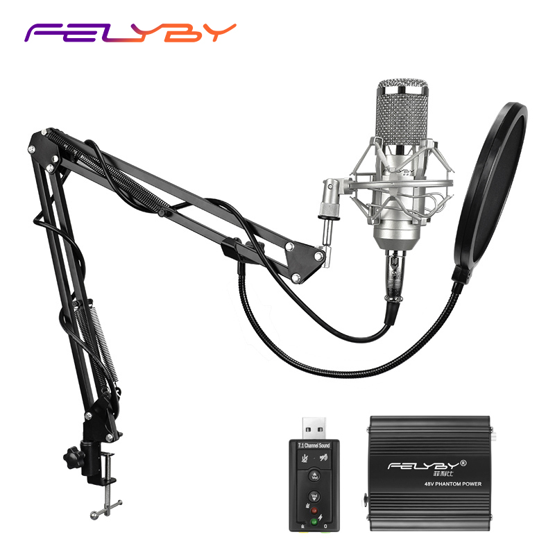 FELYBY Professional Condenser Microphone for computer bm 800 Audio Studio Vocal Recording Mic KTV Karaoke + Microphone stand 3 5mm jack audio condenser microphone mic studio sound recording wired microfone with stand for radio braodcasting singing