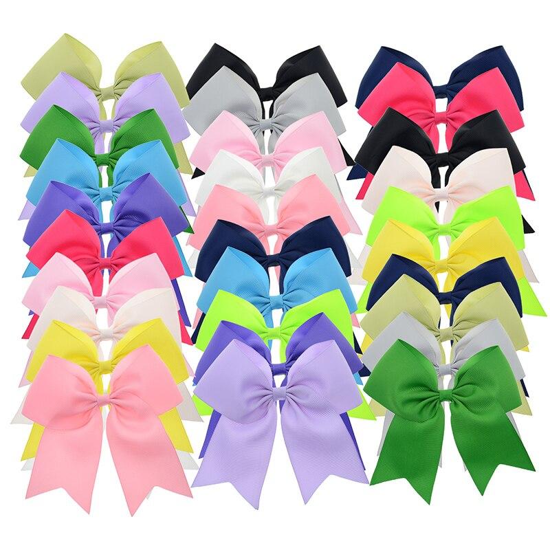 30PCS 5 inch Big Ribbon Cheer Bows with Clips School Hair Bows Women Hair Clip Girls Hair Barrettes Wholesale Hair Accessories