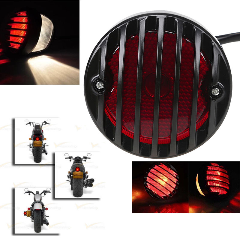 Vintage Black Grill Round Motorcycle Tail Brake Light License Plate For Harley Bobber Chopper Street Bob Motorcycle Rear Light