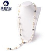 Современные Дизайн 925 Серебро Природный южного моря и таитянский жемчуг Цепочки и ожерелья