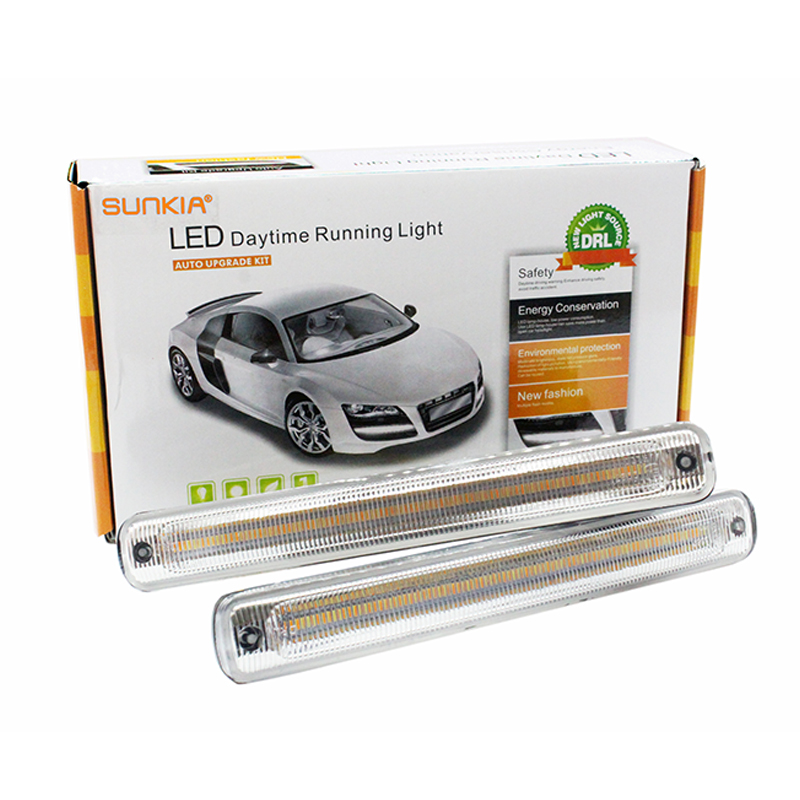2Pcs Set SUNKIA LED Daytime Running Light COB DRL Car Day Driving Fog Lamp With Flowing
