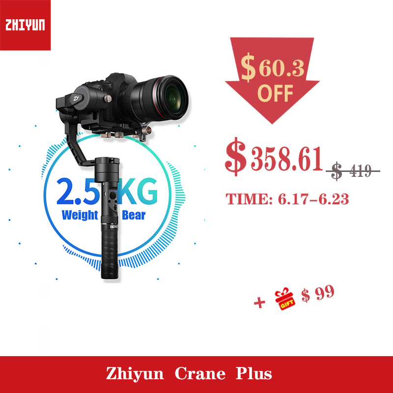 Grue ZHIYUN Plus 2.5 KG ours 3 axes poche DSLR caméra cardan vidéo steadicam pour Nikon Canon Sony double poignée PK DJI Feiyu