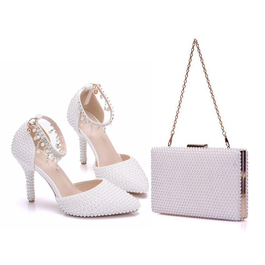 Crystal Queen Pointed Toe White Pearl Chain Wedding Shoes Thin Heels Party Sandals With Matching Bags