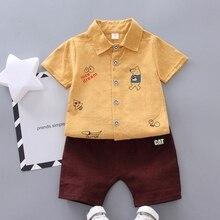 Fashion Boys Clothes Summer Short Sleeve Cartoon Print Tops T-shirt+Shorts Casual Outfits Sets