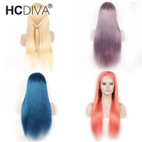 Colorful Long Hair Full Lace Human Hair Wigs Pre Plucked With Baby Hair Blond 613 Remy Peruvian Straight Full Lace Wigs HCDIVA