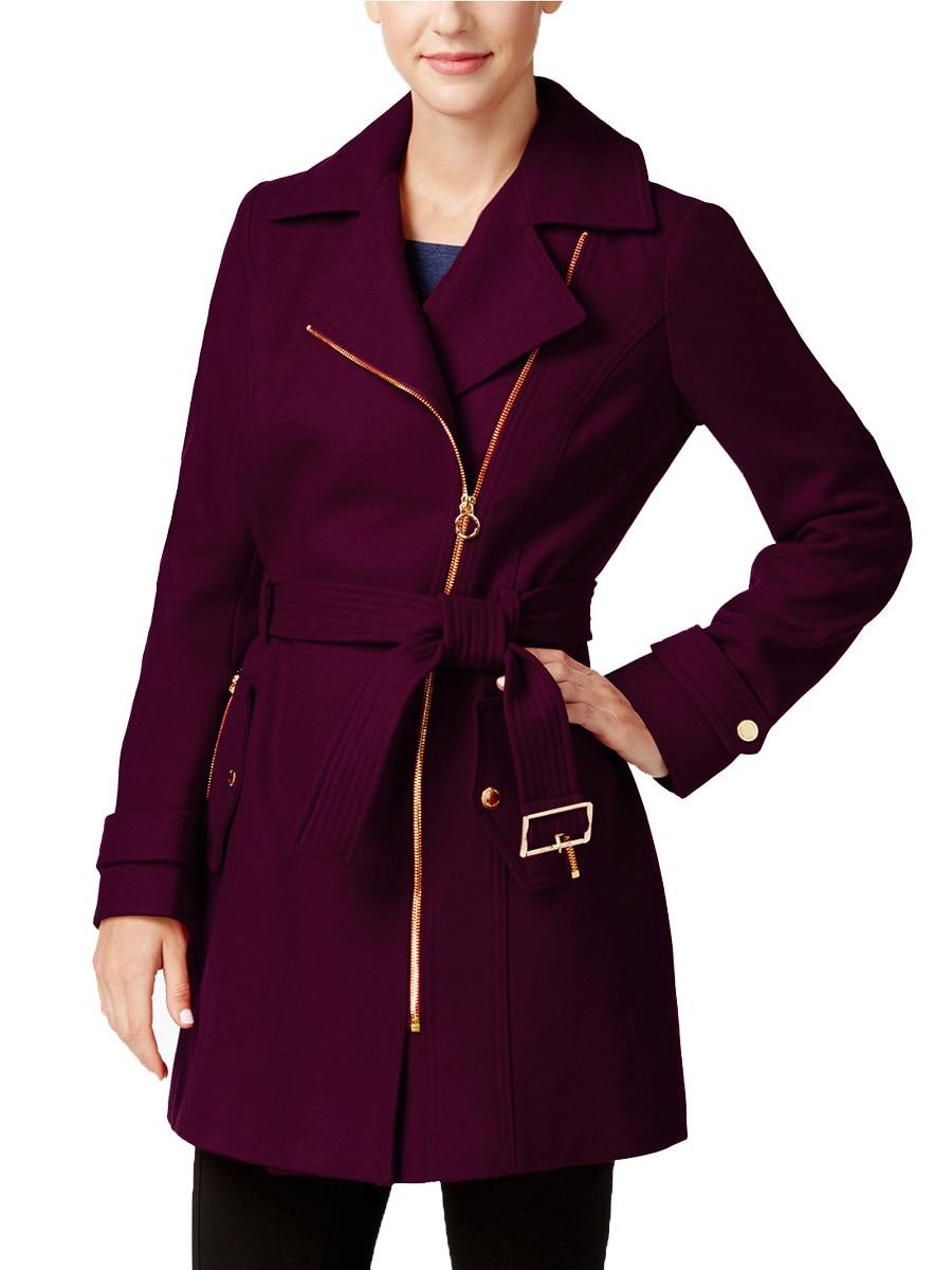 2017 New Autumn And Winter Woolen Coat Women Lapel Belt With Pocket Office Lady Outerwear Coat Long Sleeve Jacket