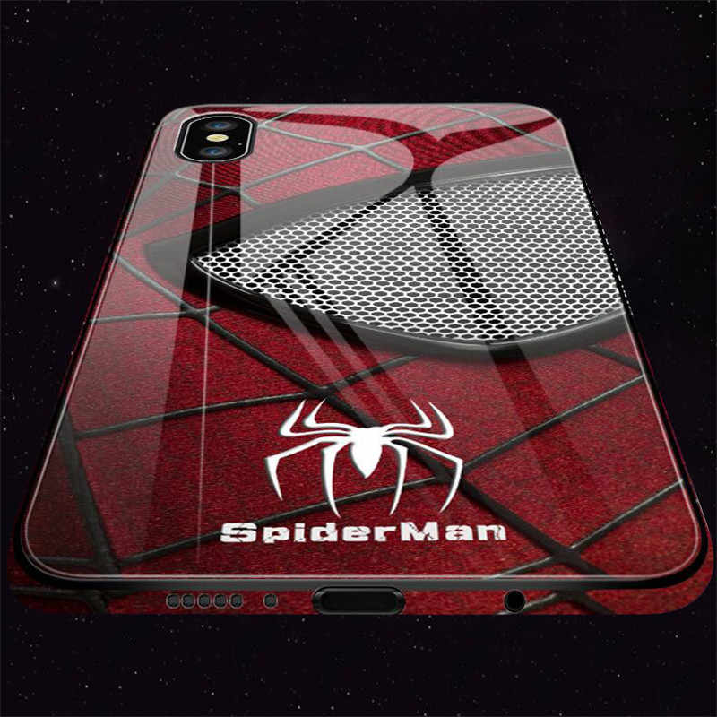 Luxury Tempered Glass Phone Case Iron Man Spiderman Case For iPhone 6 6s 7 8 Plus X XR XS Max Back Cover Marvel Avengers Case