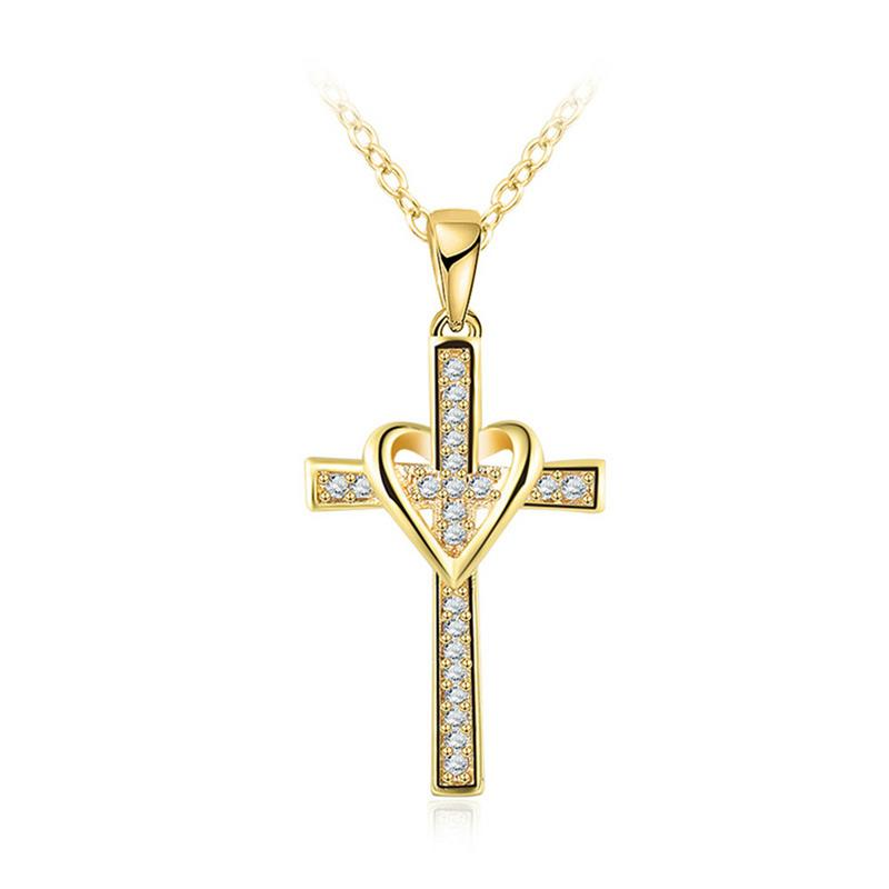 Bright Gold Color Cross Shape Zircon Pendant Necklace Women Female Fashion Necklace Jewelry Party Necklace Friend Family Gift