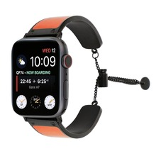 leather strap for Apple watch band 4 44mm 40mm woman/man Stainless Steel link bracelet iwatch Series 4 3 2 1 watch Accessories watch band link lever ear ear screw rod for cartier pasha series watch accessories