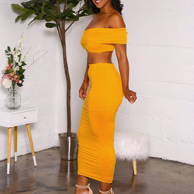 317d9bc5bcc38 Sexy Women Two Piece Set Summer Outfits Yellow Slash Neck Strapless Off  Shoulder Crop Top And Skirt Set Bodycon Party Club Wear-in Women s Sets from  Women s ...