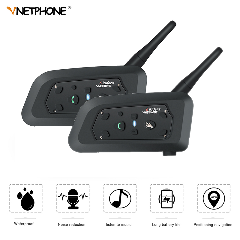 VnetPhone 2 set V6 Bluetooth Intercom Moto Motorcycle Helmet Accessories Speaker 1200m Interphone Headset Support Wireless bt-s2