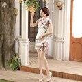 Vintage Print Flower Chinese Female Satin Qipao Mandarin Collar Short Sleeve Cheongsam Lady Sexy Slim Dress S M L XL XXL LGD39
