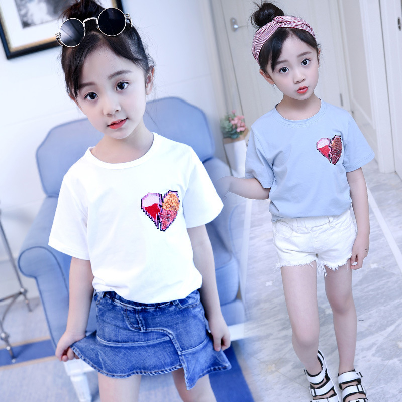 Casual 2019 Summer T Shirt With Sequins Girls Tops For Kids Tees Clothes Children Short Sleeve O-neck Cotton T Shirts Baby Girls