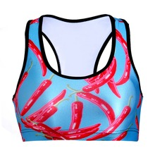NEW 0049 Summer Sexy Girl Women blue hot pepper Chili 3D Prints Padded Push Up Gym