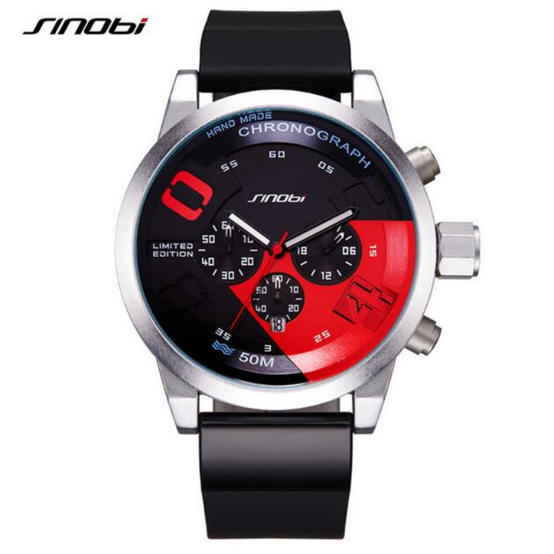 SINOBI Men Sport Watch Waterproof Chronograph Military Wrist watches Fast & Furious Men's Watch Men Watch Silicone Clock saat sinobi original vogue new design wrist watches for men dress office waterproof men watch travel factory directly sale relojes