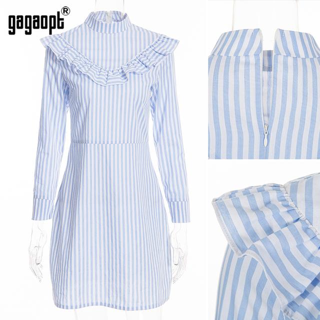 Gagaopt 2017 Ruffle Striped Dress Blue Elegant Long Sleeve Shirt Dress Summer Dresses Mini Dress Vestidos  D2301Z