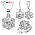 Uloveido Moda Accesorios de Boda Flor Púrpura China Rhinestone Joyería Nupcial Conjuntos para Mujeres Silver Plated Jewelry Set T490