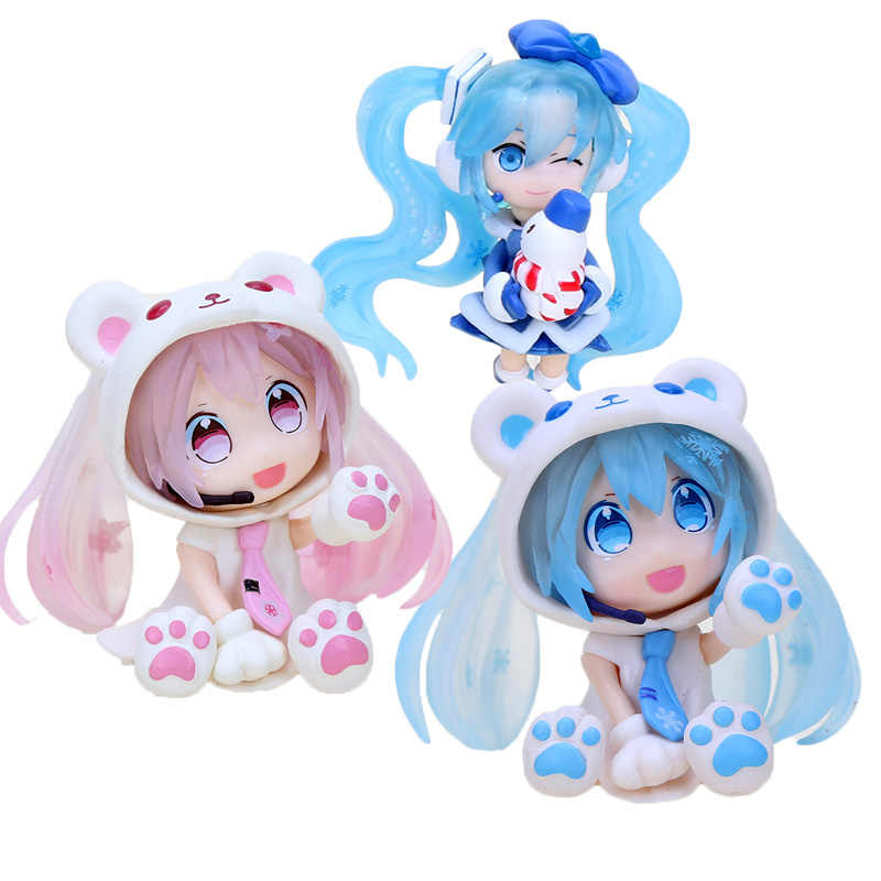 Q Miku Sakura Miku Volcaloid Hatsune Miku Neve Gelo cos Urso PVC Action Figure Model Collection Toy Presente de Natal 6 cm