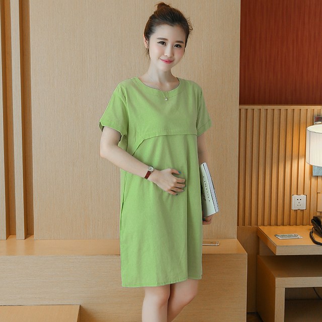 2019 Korean style maternity cotton linen short-sleeved summer clothing  pregnant women fashion breastfeeding dress nursing dress 39b5c64ad44a