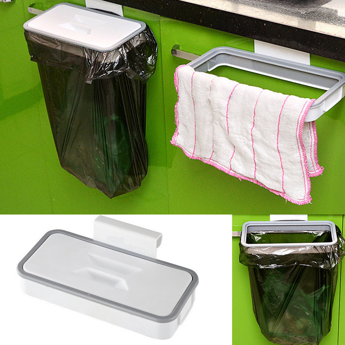 Household Kitchen Cabinet Door Basket Hanging Trash Can Waste Bin Garbage Rack Tool