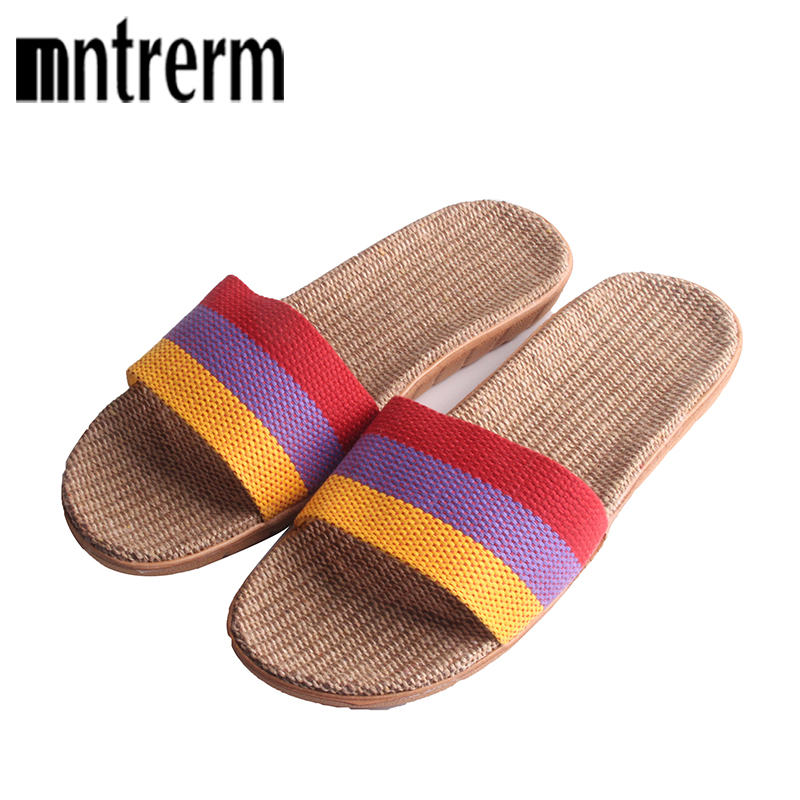 Mntrerm Sale Linen Slipper Lover Summer Style Floor Nonslip Breathable Indoor Slippers Women Shoes Flax Striped Bedroom Shoes coolsa women s summer striped non slip linen slippers women s t tied hemp vamp breathable flax slippers women s indoor slippers