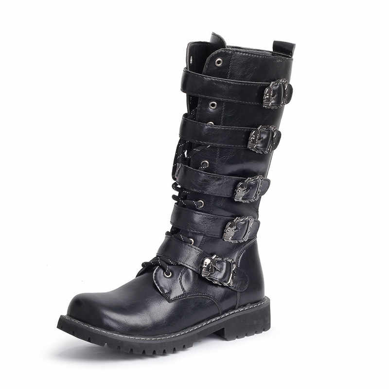 6afe601338c Army Boots Men High Military Combat Boots Metal Buckle Punk Mid Calf Male  Motorcycle Boots Lace Up Men's Shoes Rock HH-130