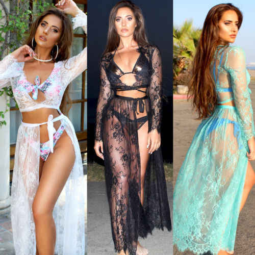 1179d9e874a ... Women Bikini Cover Up Swimwear Sheer Beach Maxi Wrap Skirt Sarong Pareo  Dress ...
