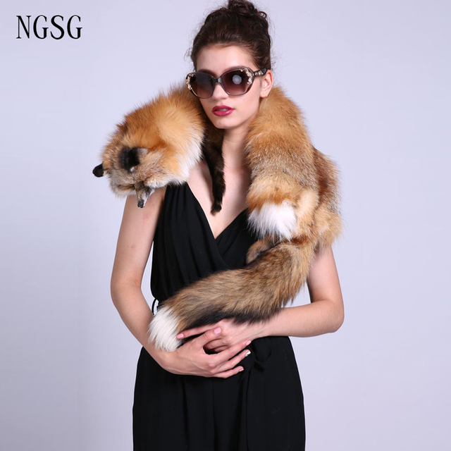 Winter women fox fur Scarf Gold Women's Fashion Soft 130-140 cm large Female Male Couple Style Grey High Quality Casual ET430-4