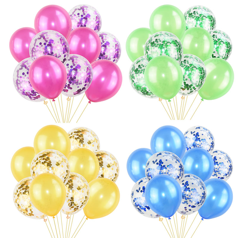 Image 2 - 10Pcs Mixed Confetti Balloons Happy Birthday Party Helium Balloon Decorations Wedding Festival Latex Balloon Party Supplies-in Ballons & Accessories from Home & Garden