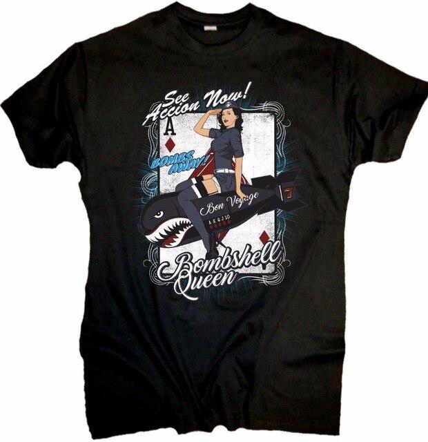 2019 camiseta de moda Cool Hombre Camisetas pin bomba reina chica Rockabilly Hot Rod Oldtimer de la vieja escuela V8 T camisa