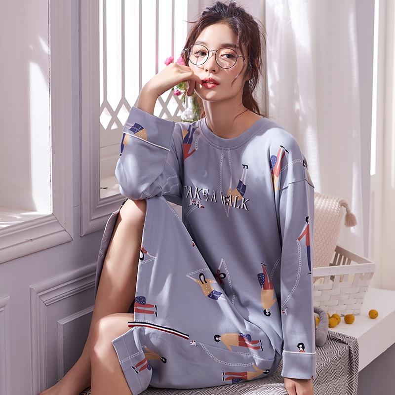 Brand New 100% Cotton Women's Nightgowns Lounge Nightdress Girls Sleepwear Casual Nightwear Loose Nightgown Fashion Sleepshirts