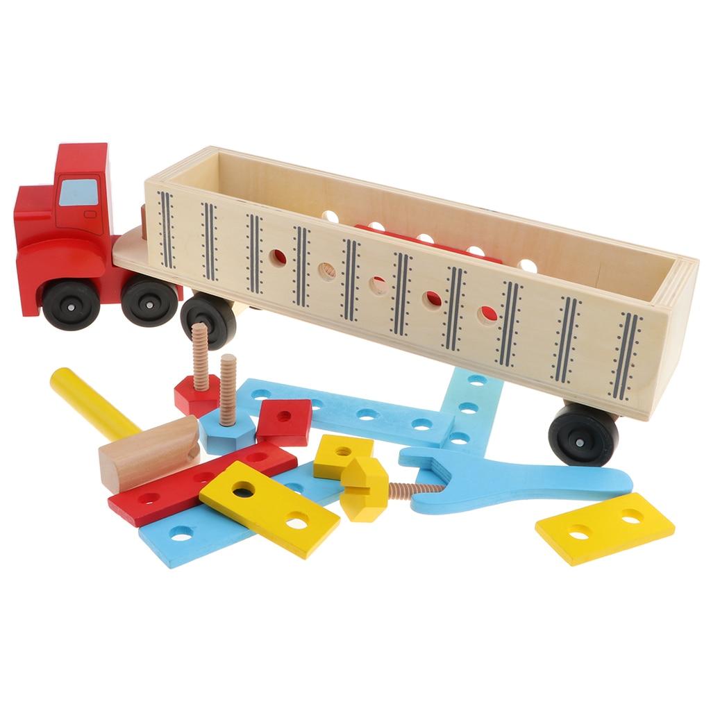 Enfant bébé jouet éducatif en bois démontage vis écrou véhicule voiture renversement développement bébé jouets