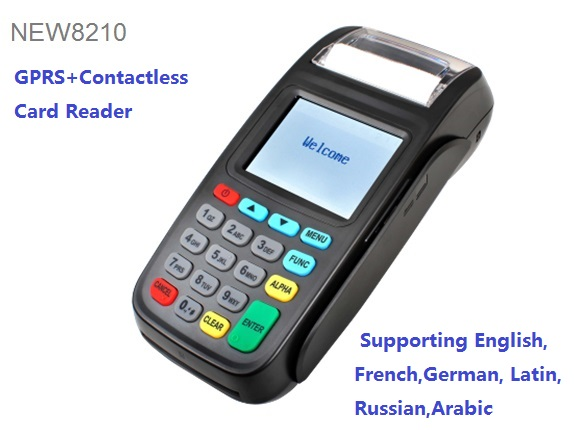 2.8inch 320*240 TFT LCD Screen Mobile POS Terminal GPRS version+Build-in Contactless Card Reader support English, French,Russian
