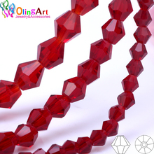 OlingArt 3/4/6mm/8mm Bicone Upscale Austrian Multicolored crystal dark Red color beads Loose bead bracelet DIY Jewelry Making