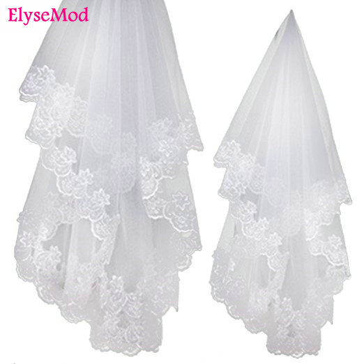 1.2 Meters Lace Edage Short Wedding Veil 2018 Tulle Ivory White Bridal Veil Wedding Accessories Velos De Novia