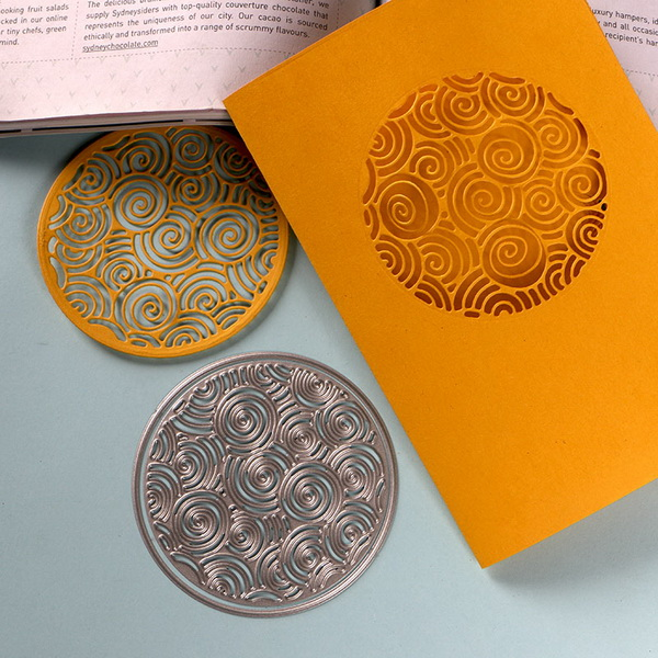 DUOFEN METAL CUTTING DIES Chinese New Year lucky circle pattern lace hollow embossing stencil DIY Scrapbook Paper Album 2019 new in Cutting Dies from Home Garden