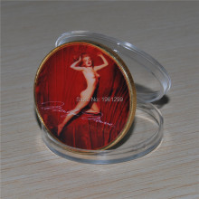 Unparalleled price 50 PCS/lot DHL free shipping, Marilyn Monroe 24 kt Gold - plated Coin(China)