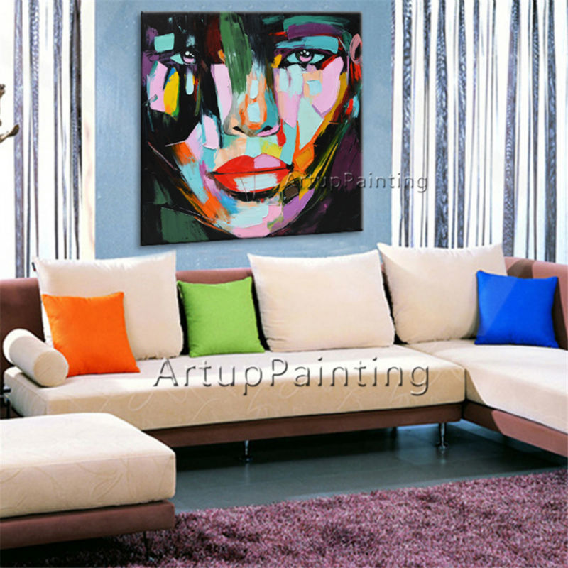 Francoise Nielly Canvas Painting Palette Knife Face Oil Painting