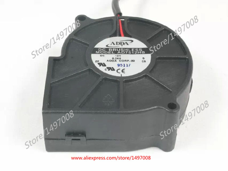 Free Shipping For ADDA  AD7512HB S  DC 12V 0.24A, 2-wire 2-pin connector 70mm, 75x75x30mm Server Blower fan free shipping for adda aa8382hb aw s ac 220 240v 0 07 0 06a 2 pin 80x80x38mm server square fan free shipping