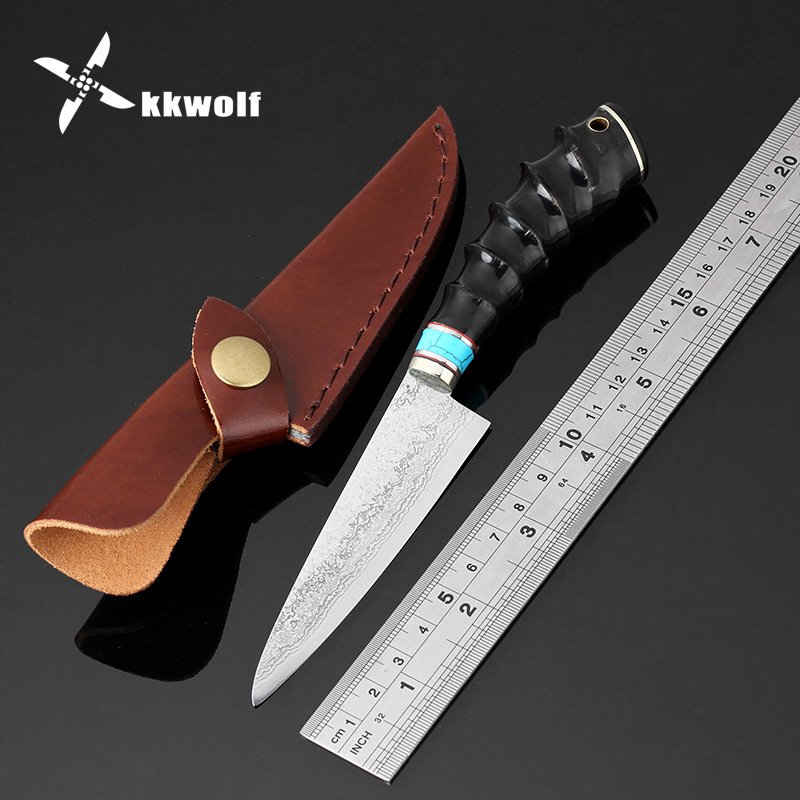 цены KKWOLF Vg10 Damascus Steel Knife Fixed Blade Chef Knife Outdoor Hunting Survival Knife Camping Tactical Knife Goat horn handle