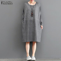 2017 ZANZEA Women Vintage O Neck Long Sleeve Cotton Linen Autumn Splice Baggy Vestido Retro Striped