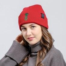 72431ca4653fe Chapéus de Inverno quente Casual Macio Vermelho Malha Ski Beanie Bonés  bordados 2018 Mulheres Skullies Gorro