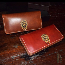 OLG.YAT handmade wallet mens purse retro bags Lion head handbag Italian Vegetable tanned leather brush color retro wallets pure