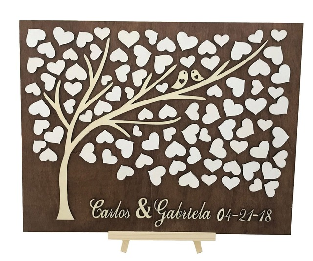 Wedding Tree Guest Book: Personalized 3D Tree Wedding Guest Book Alternative Unique