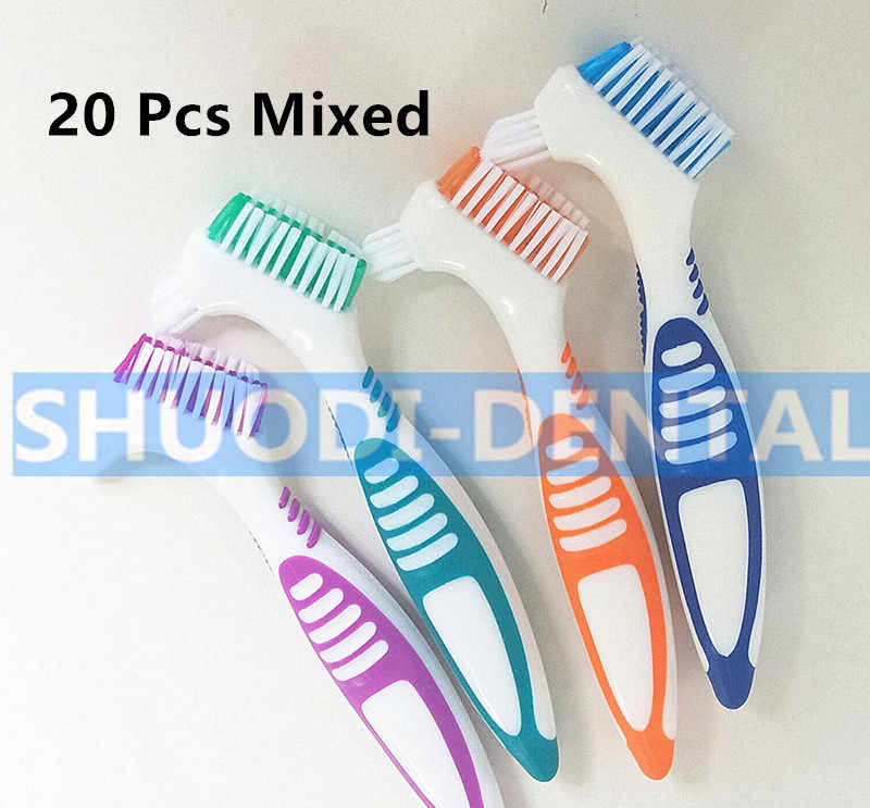 Dedicated Brush Tooothbrush Cleaning Brush Soft Multi-Layered Bristles Dual Brush Heads False Teeth Brush Oral Care Tool Y-shape