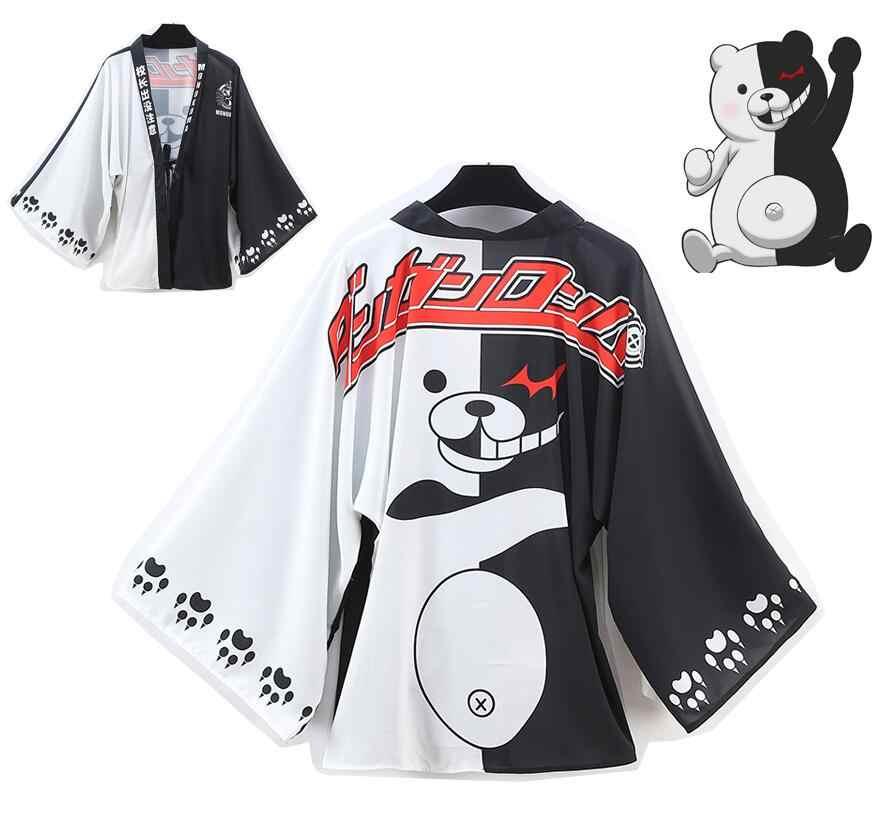 Anime Danganronpa Cute Monokuma Chiffon Cloak Cosplay Costume Japanese Kimono Yukata Daily Casual Haori