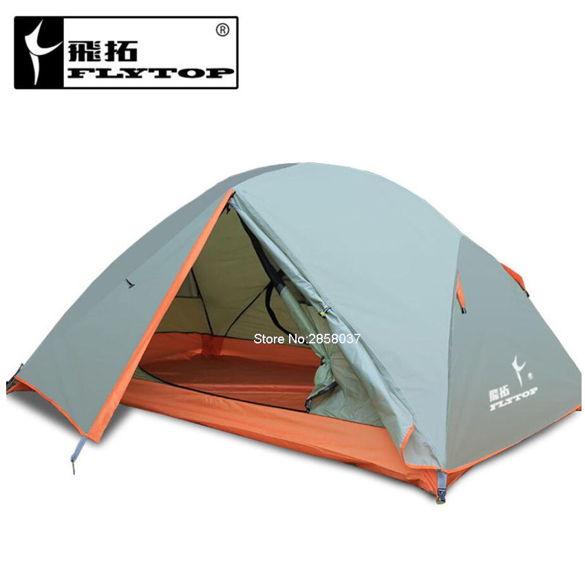 Anti-UV 2 Person Tent ultralight Double Layer Camping Garden Fishing Outdoor Tent 4 Season with 2 Person Mat good quality flytop double layer 2 person 4 season aluminum rod outdoor camping tent topwind 2 plus with snow skirt