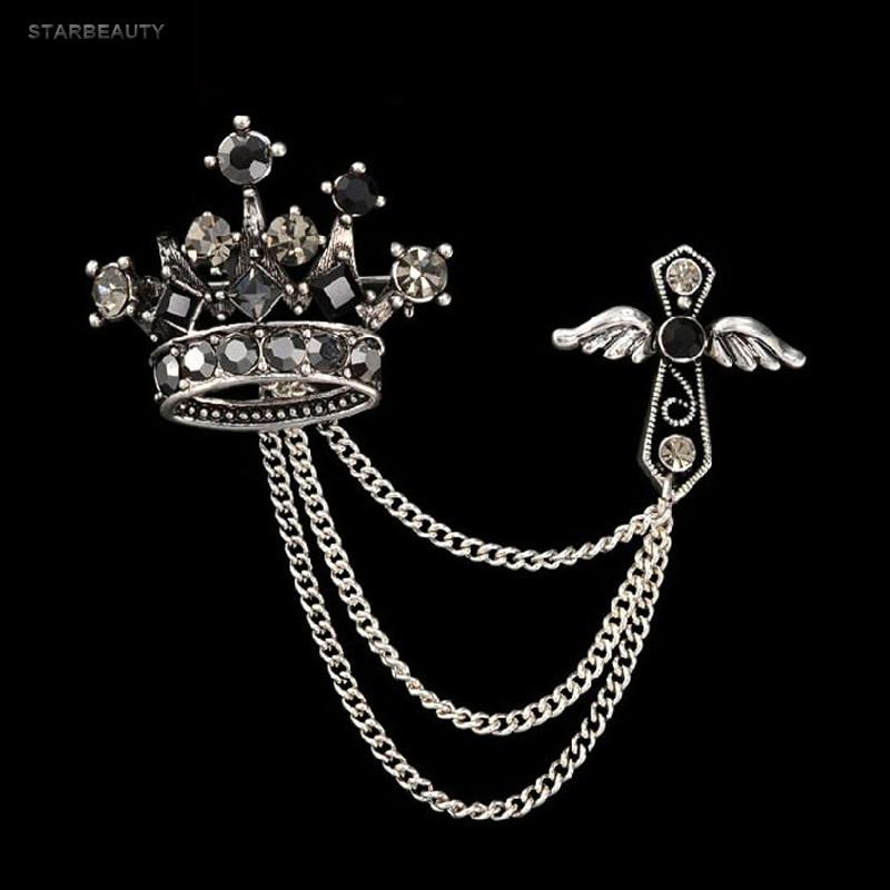 Angel Wing Cross Crown Brooch Lapel Pin Mens Windbreaker Suit Boutonniere Badge Brooches for Men Women Broches Chain Tassel