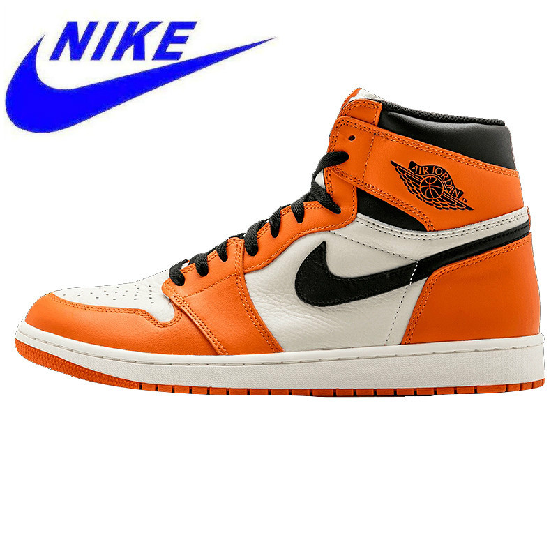 newest 7e009 852b0 Original Nike Air Jordan 1 Retro High OG AJ1 White Orange White Rebound  Men s Basketball Shoes, Outdoor Sneakers 555088 113