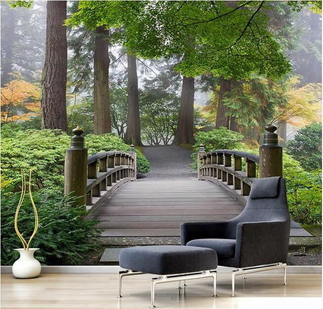 3d Wallpaper Custom Mural Non Woven Bridge Forest 3 D Landscape Paintings Background Wall Painting